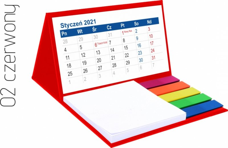 Kalendarz biurkowy z notesem i znacznikami MINI 2021 czerwony