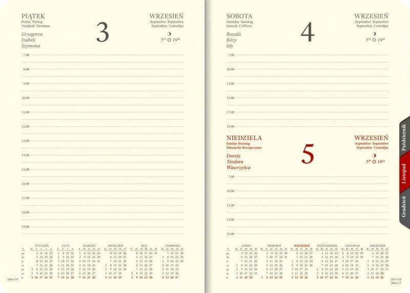 Kalendarium A5 dzienne papier chamois wycinane registry