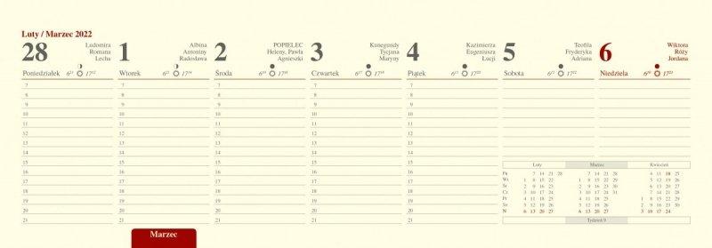 Kalendarz biurkowy tygodniowy z planem godzinowym i numeracją tygodni