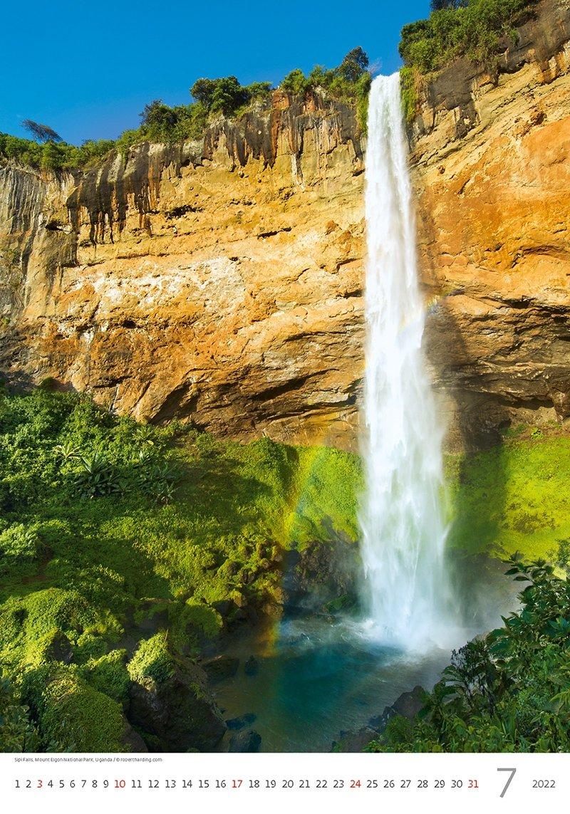 Kalendarz ścienny wieloplanszowy Waterfalls 2022 - lipiec 2022