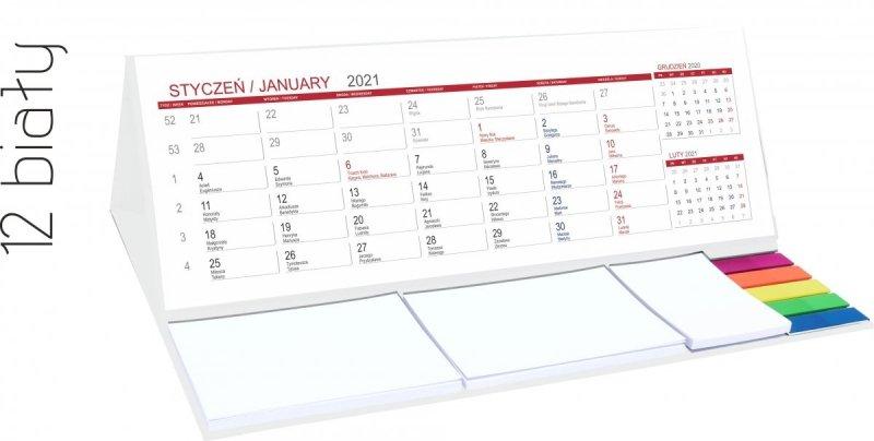 Kalendarz biurkowy z notesami i znacznikami MAXI 2021 biały