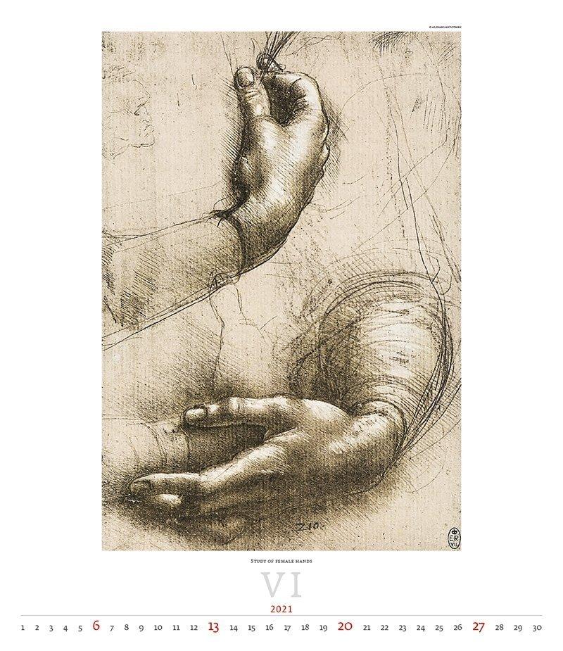 Kalendarz ścienny wieloplanszowy Leonardo da Vinci 2021 - exclusive edition  - czerwiec 2021
