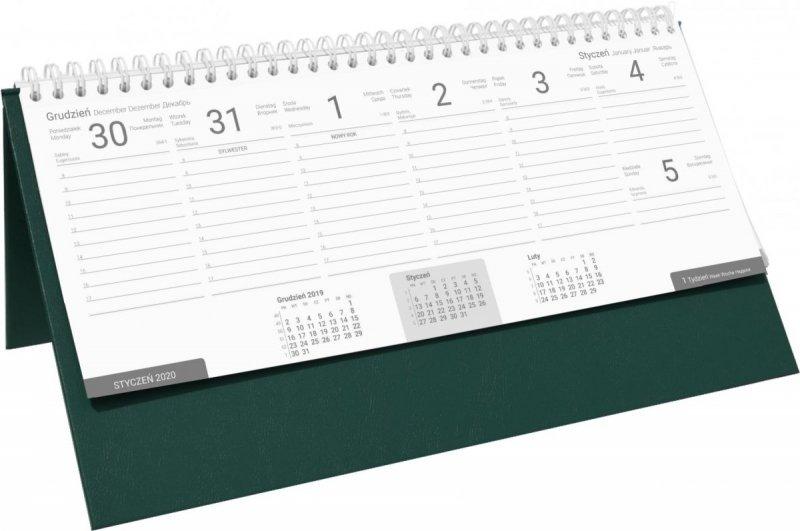 Kalendarz biurkowy stojąco-leżący BUSINESS LINE oprawa Agora kolor zielony
