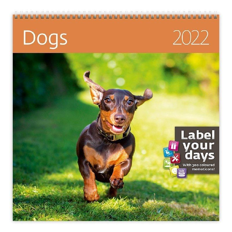 Kalendarz ścienny wieloplanszowy Dogs 2022 z naklejkami - okładka