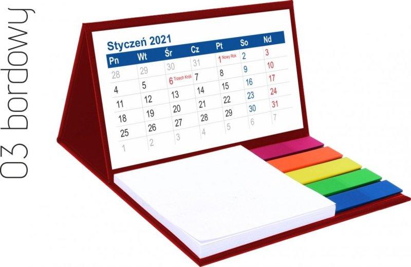 Kalendarz biurkowy z notesem i znacznikami MINI 2021 bordowy