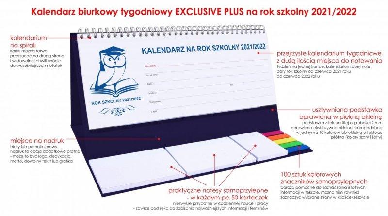 Kalendarz stojący na biurko tygodniowy na rok szkolny 2021/2022 + notesy i znaczniki samoprzylepne