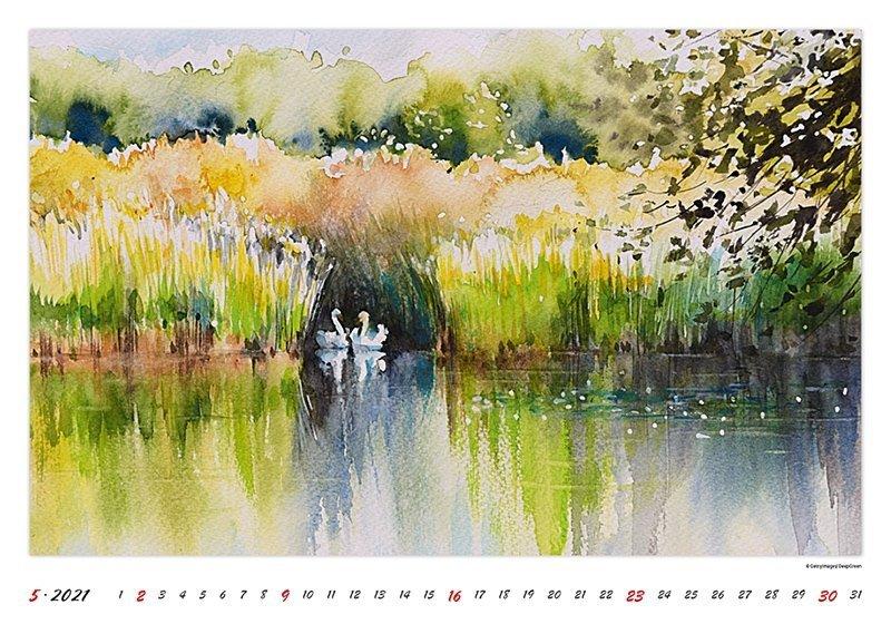 Kalendarz ścienny wieloplanszowy Watercolour Scenery 2021 - maj 2021