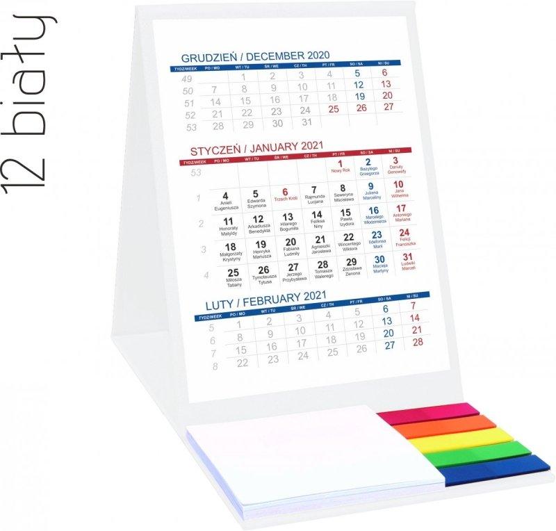 Kalendarz biurkowy z notesem i znacznikami TOP 3-miesięczny 2021 biały
