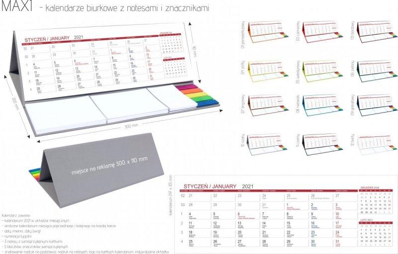 Kalendarz biurkowy z notesami i znacznikami MAXI 2021