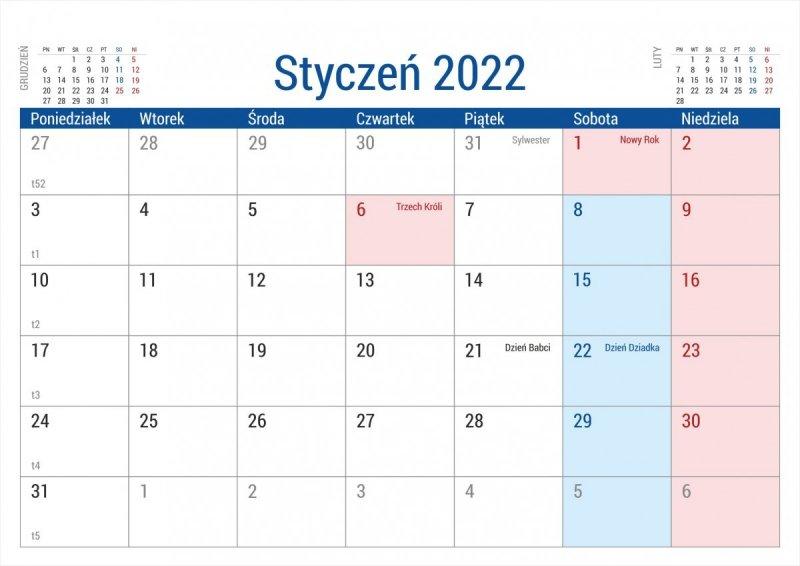 Kalendarz na biurko stojący PLANO na rok 2022 - styczeń