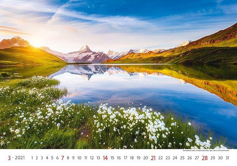 Kalendarz ścienny wieloplanszowy Landscapes 2021 - marzec 2021