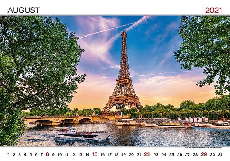 Kalendarz ścienny wieloplanszowy World Wonders 2021 - sierpień 2021