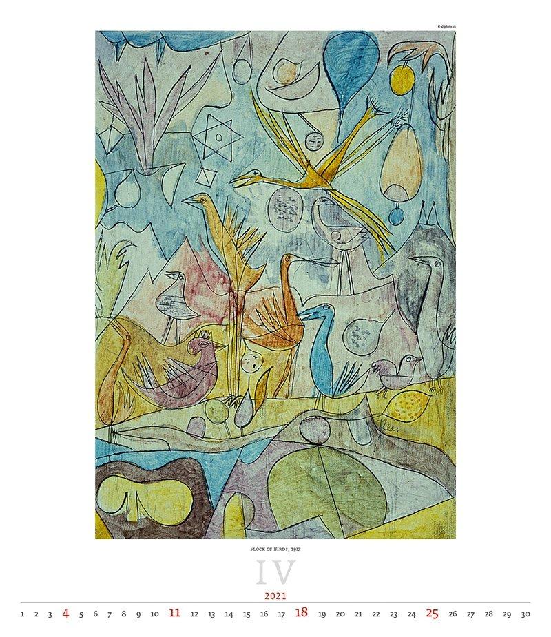 Kalendarz ścienny wieloplanszowy Paul Klee 2021 - exclusive edition - kwiecień 2021
