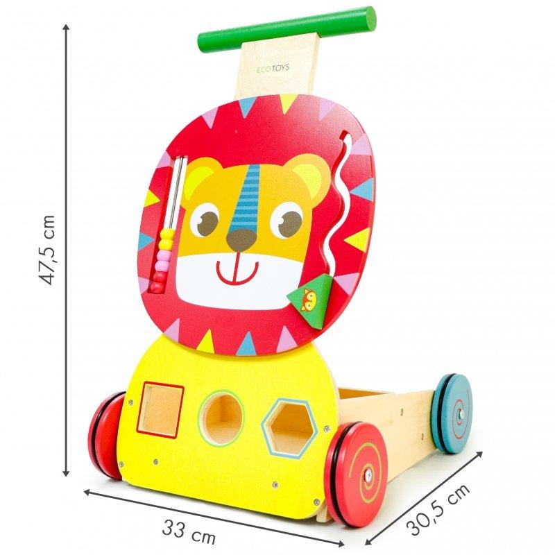 Drewniany pchacz wózek edukacyjny sorter + klocki ECOTOYS