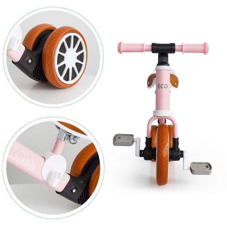 Rower rowerek trójkołowy biegowy z pedałami 2w1 Różowy