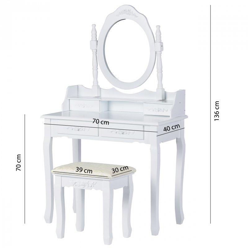 Toaletka kosmetyczna z dużym lustrem i taboretem