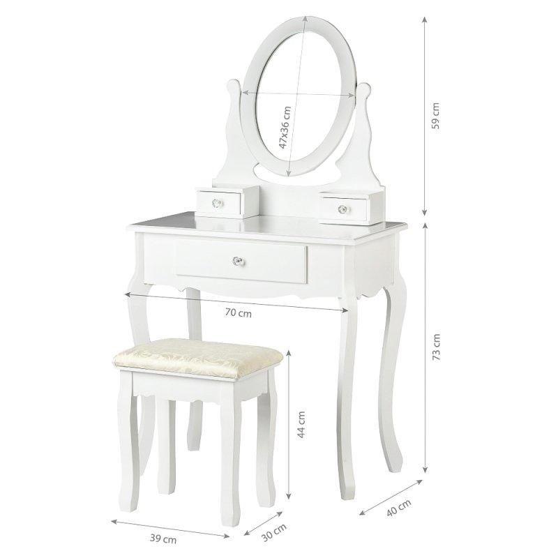 Duża toaletka kosmetyczna komoda lustro taboret