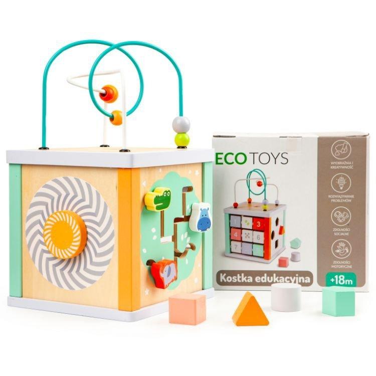 Drewniana kostka edukacyjna sorter +klocki Ecotoys