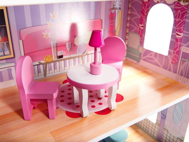 Domek drewniany dla lalek Różowa Willa 70cm LED
