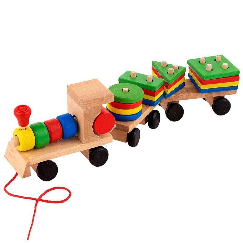 Sorter drewniany układanka  pociąg klocki