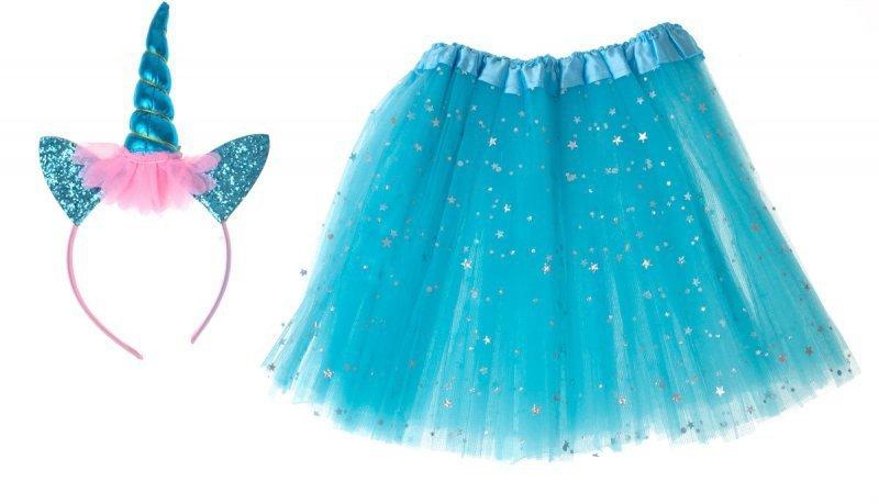 Kostium strój karnawałowy Jednorożec opaska+ spódniczka niebieski