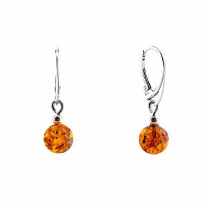Orecchini pendenti, sfera cognac, argento con pietra d'ambra