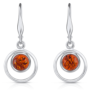 OCCHI DI PAVONE,  Orecchini  in argento con pietra d'ambra