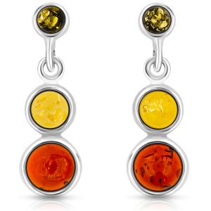 3 LUCI,  Orecchini in argento con pietra d'ambra