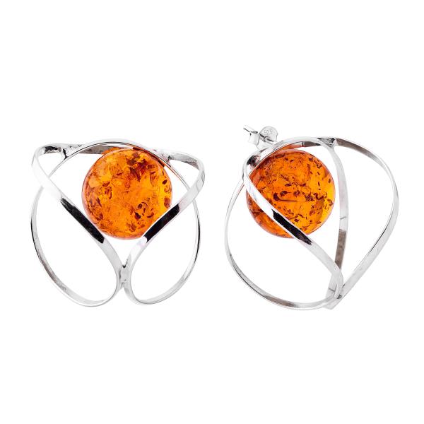 Orecchini perno, sfera cognac, argento con pietra d'ambra--C-O582G