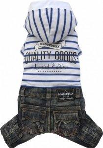 Dolly C243-M Komplet jeans kaptur biały 28-30cm