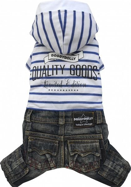 Dolly C243-XL Komplet jeans kaptur biały 33-35cm