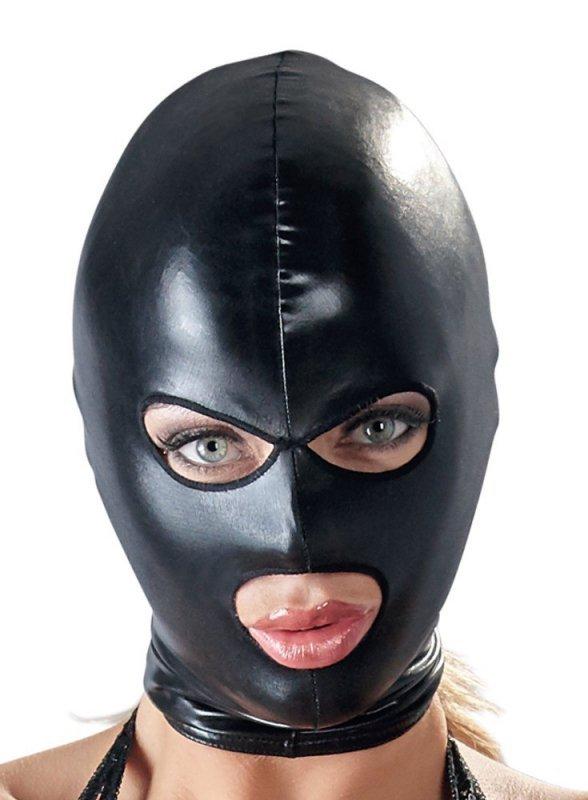 Maska czarna z otworami na oczy i usta
