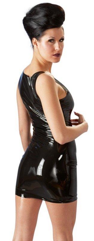 Lateksowa mini sukienka czarna XS