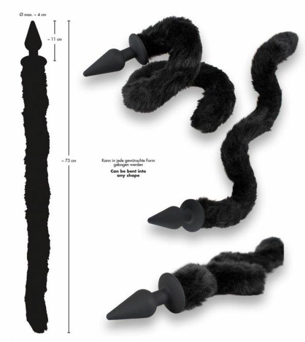 Korek analny silikonowy z kocim ogonem 11 cm Bad Kitty