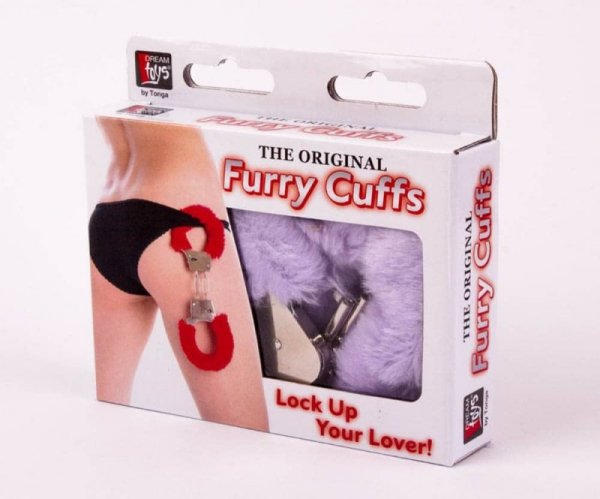Kajdanki z futerkiem lila