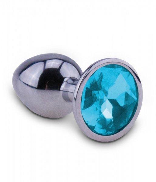 Korek analny chromowany z niebieskim kryształem 7,2 cm RelaXxxx