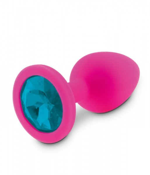 Korek analny silikonowy z niebieskim kryształem 8 cm RelaXxxx