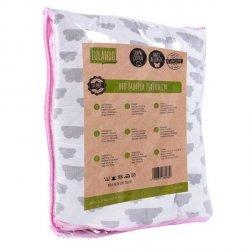 Lulando Kojec 75x100 różowy w groszki  białe+biały w szare chmurki