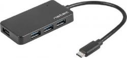 Koncentrator USB 4 porty Silkworm USB 3.0 czarny USB-C