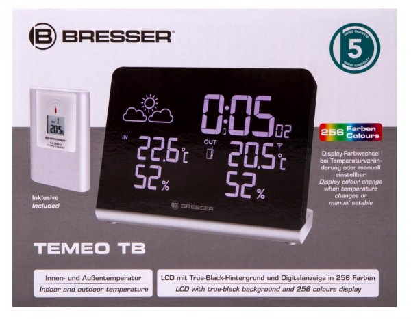 Higrometr Bresser z alarmem pleśniowym, czarny