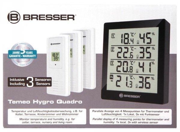 Stacja meteorologiczna Bresser Temeo Hygro Quadro, czarna