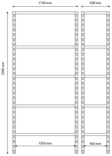 Regał magazynowy 2500x1150x500 - 5 półkowy ciężki R-1-06-04