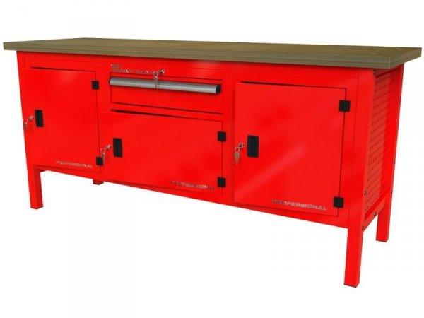 stół roboczy z trzema szafkami