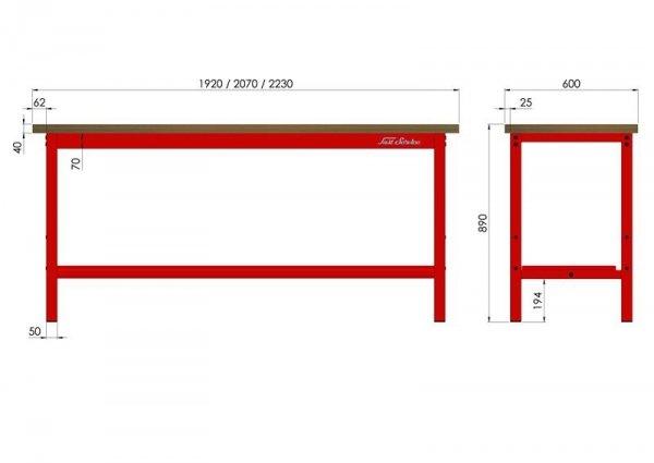 Stół warsztatowy podstawowy 2070x600mm wymiary