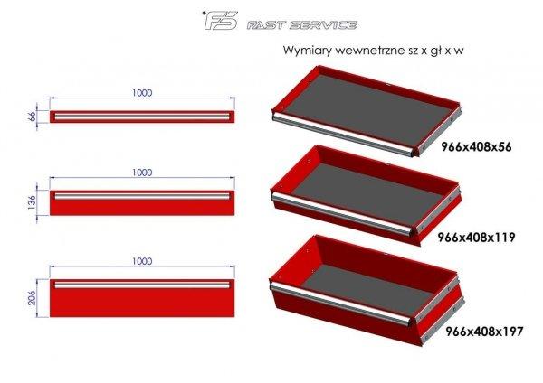Wózek warsztatowy MEGA z 13 szufladami PM-216-22