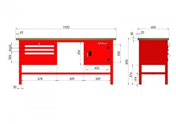 Stół narzędziowy P-3-101-01 wymiary