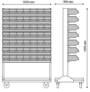 Stojak narzędziowy z 7 listwami na 49 pojemników P3 (jednostronny) P-5-03-02