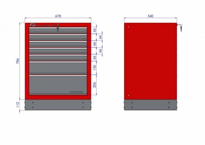 Szafka warsztatowa z 7 szufladami – T-19 - wymiary