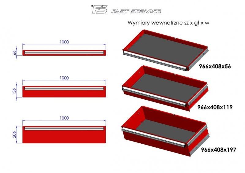 Wózek narzędziowy MEGA z 18 szufladami PM-210-12