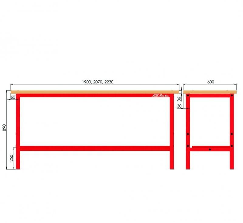 Stół warsztatowy P-3-00-01 (szer. 2270mm)